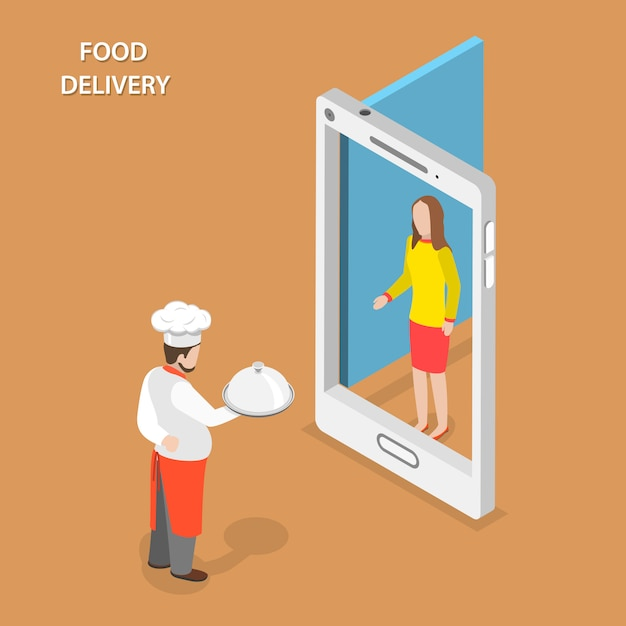 Entrega de comida plana isométrica Vetor Premium