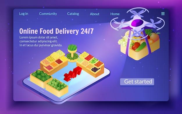 Entrega de comida por drone à noite 24/7 serviço. Vetor Premium