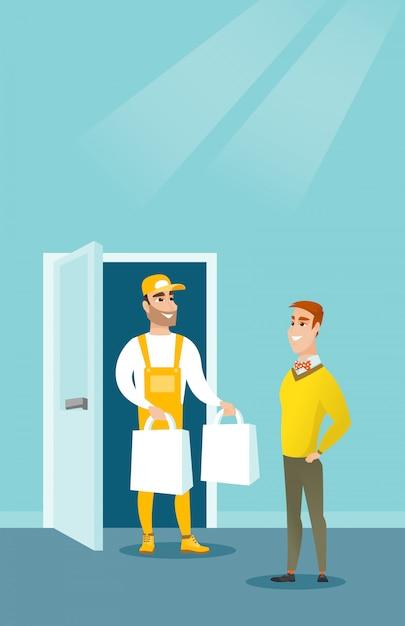 Entrega de correio entregando mantimentos para o cliente. Vetor Premium