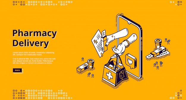 Entrega de farmácia, banner de vetor de loja on-line Vetor grátis