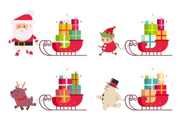 Entrega de natal com papai noel, renas, boneco de neve, duende e trenó com presente. ilustração dos desenhos animados em um fundo branco. Vetor Premium