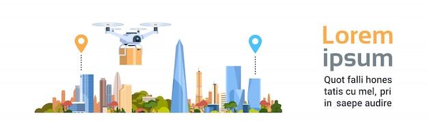Entrega drone com pacote sobre a cidade. banner horizontal de conceito de transporte aéreo rápido Vetor Premium