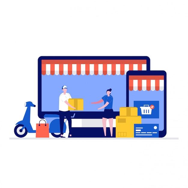 Entrega e conceito de ilustração comercial com personagens, tela de computador, smartphone, caixa, scooter. Vetor Premium