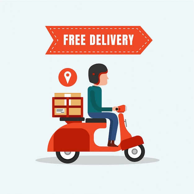 Entrega gratuita comida moto design plano Vetor Premium