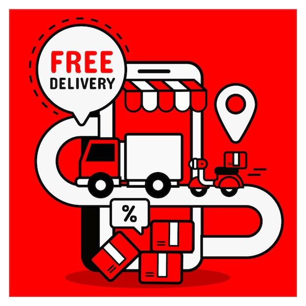 Entrega gratuita de compras online. conceito de compra móvel Vetor Premium