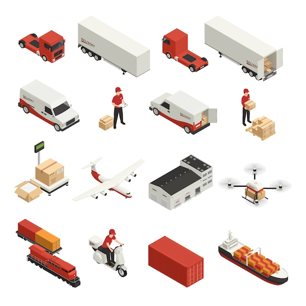 Entrega logística de ícones isométricos de transporte de carga por vários veículos e tecnologia drone Vetor grátis
