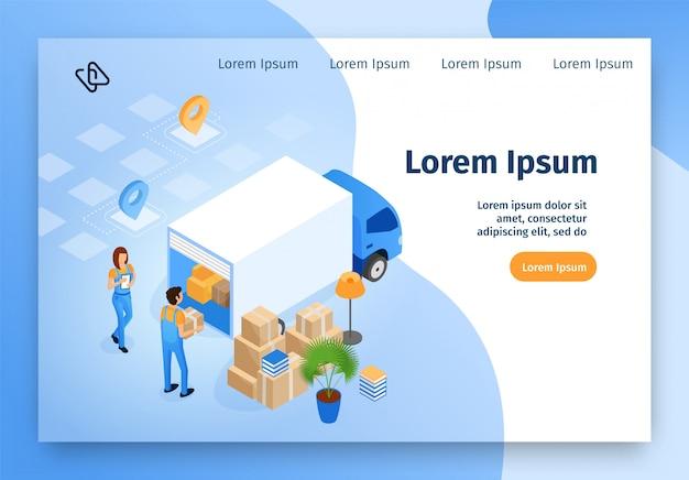 Entrega, movendo-se serviço vector isométrica site Vetor Premium