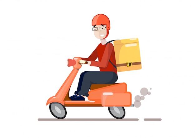 Entrega por scooter Vetor Premium