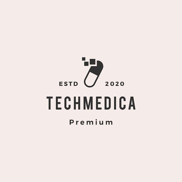 Entrega rápida cápsula logotipo tecnologia médica vector Vetor Premium