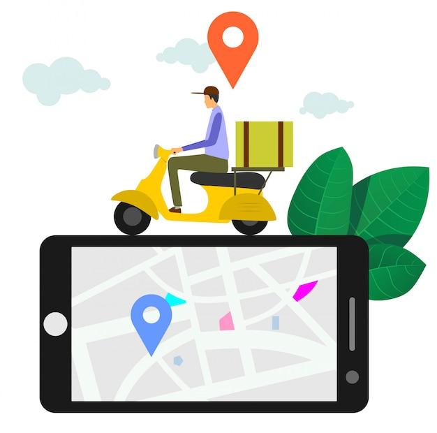 Entrega rápida e gratuita por scooter Vetor Premium