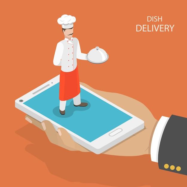 Entrega rápida prato móvel. Vetor Premium