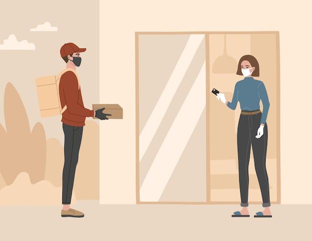 Entrega sem contato, um mensageiro com máscara médica respiratória e luvas deixaram a embalagem a uma distância segura. Vetor Premium