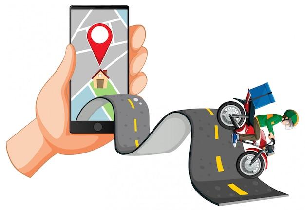 Entregador andando na estrada com a mão usando smartphone Vetor grátis