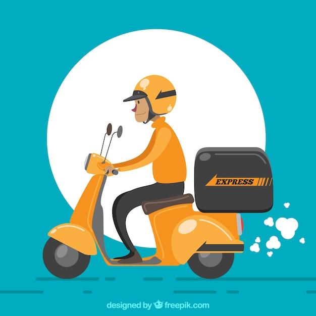 Entregador com capacete e scooter retro Vetor grátis