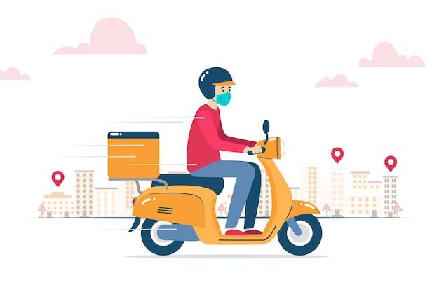 Entregador, com máscara facial, entregando um pedido em uma motocicleta Vetor Premium
