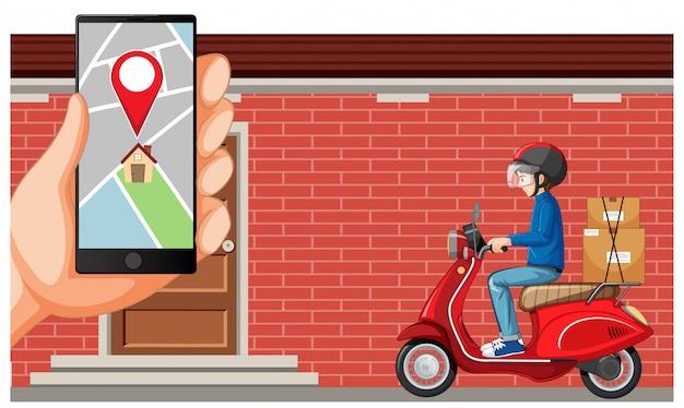 Entregador de moto ou moto de mergulho com tela de mapa no smartphone Vetor grátis
