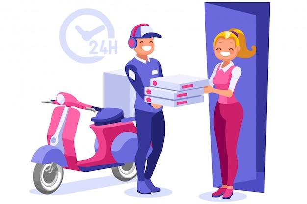 Entregador entregando pizza em casa Vetor Premium