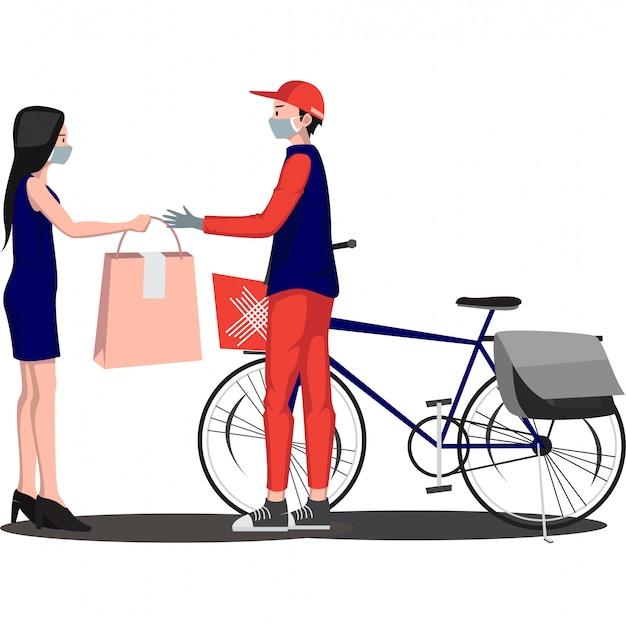 Entregador está entregando pacote para o destinatário usando bicicleta Vetor Premium