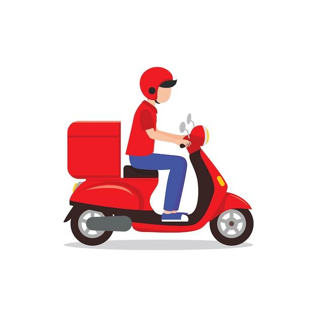Entregador, montando a ilustração de scooter vermelho Vetor Premium