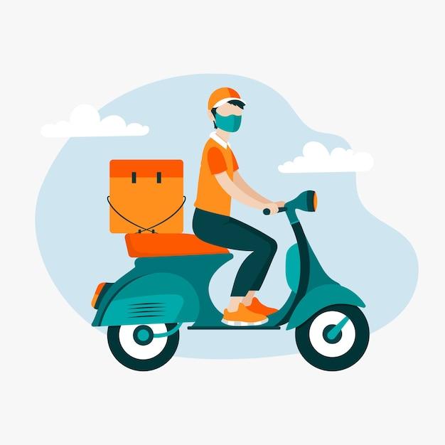 Entregador na motoneta usando máscara Vetor grátis
