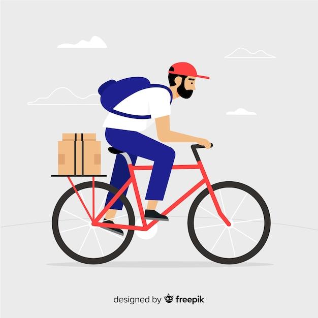 Entregador plano no fundo da bicicleta Vetor grátis