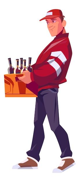 Entregador segurando uma caixa de madeira para garrafas com bebidas alcoólicas Vetor grátis