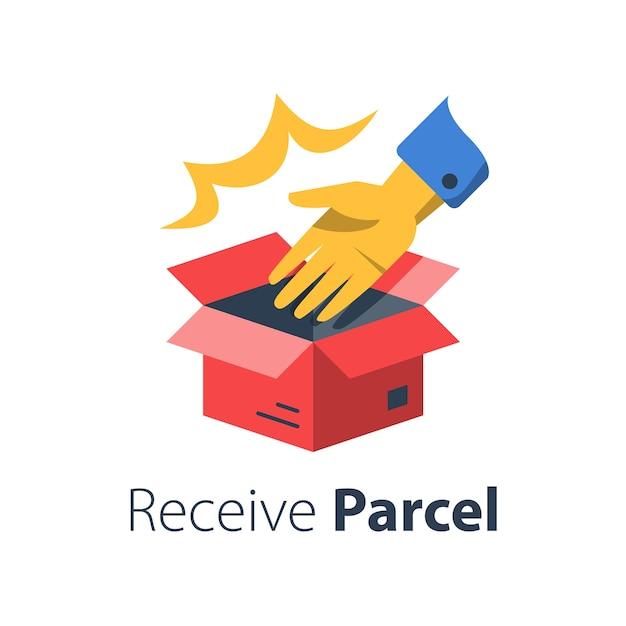 Entregar o pedido da loja, abrir a caixa e entregar, recolher o litro, distribuir o pacote, receber a compra da loja, cobrar escritório, ilustração plana Vetor Premium