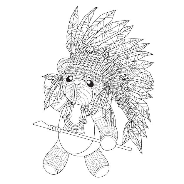 Entregue a ilustração tirada do urso de peluche indiano americano. Vetor Premium