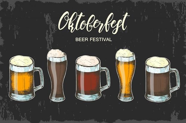 Entregue o vidro de cerveja desenhado com tipo diferente das cervejas. festival de cerveja oktoberfest. letras feitas à mão. esboço. Vetor Premium