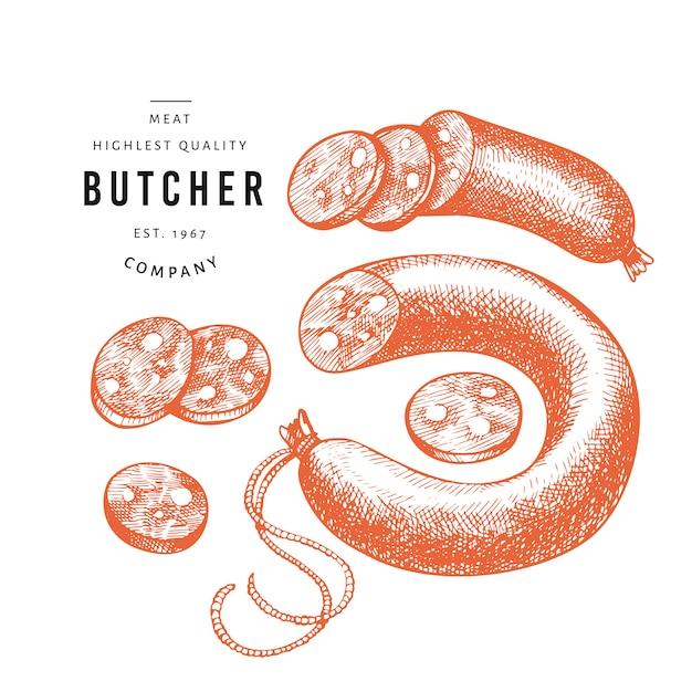 Entregue salsichas desenhadas, fatias de salsichas, especiarias e ervas. Vetor Premium
