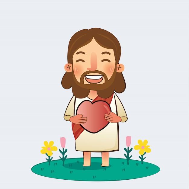Entregue seu coração a jesus Vetor Premium