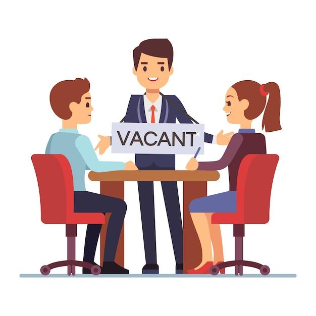Entrevista de emprego com o gerente de rh homem com mesa vago Vetor Premium
