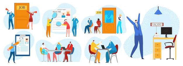 Entrevista de emprego, conjunto de ilustrações de contratação e recrutamento. processo de contratação com pessoas aguardando entrevista de recrutamento de negócios no escritório, rh, currículo e entrevista, empregador. Vetor Premium