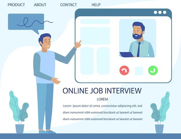 Entrevista de emprego on-line de publicidade de página de destino Vetor Premium