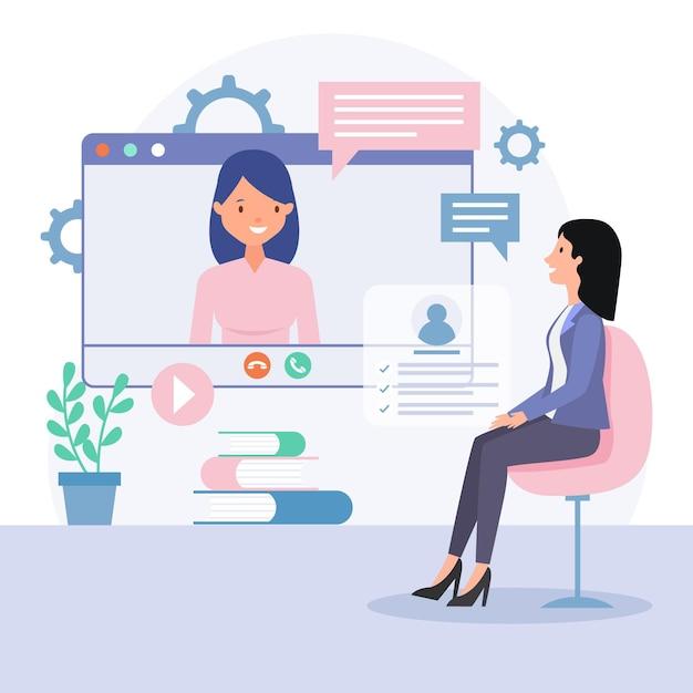 Entrevista de emprego on-line Vetor Premium