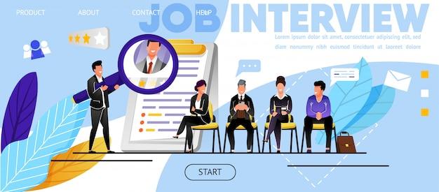 Entrevista de emprego, recrutamento. website, landing page Vetor Premium