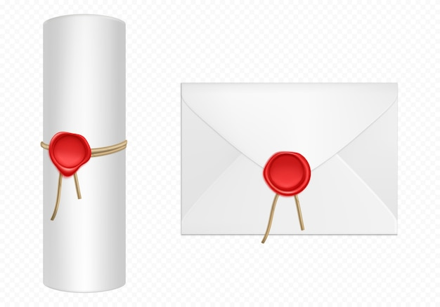 Envelope branco e rolagem com modelo de cera vermelha Vetor grátis