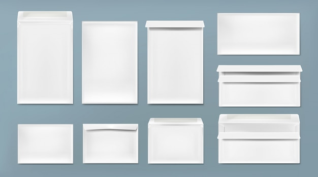 Envelope branco modelo a4, dl e c6 Vetor grátis