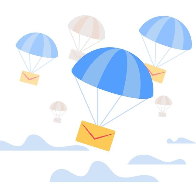 Envelope caindo com pára-quedas azul no céu Vetor Premium