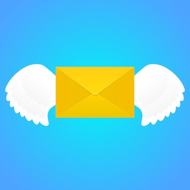 Envelope com asas. Vetor Premium