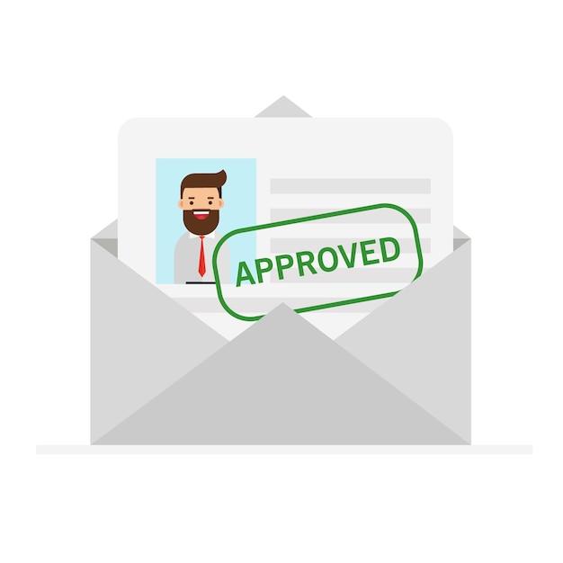 Envelope com carta aprovada Vetor Premium