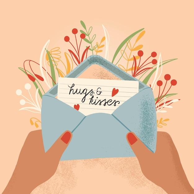 Envelope com carta de amor e mãos. mão colorida ilustrações desenhadas com letras de mão para feliz dia dos namorados. cartão com flores e elementos decorativos. Vetor Premium