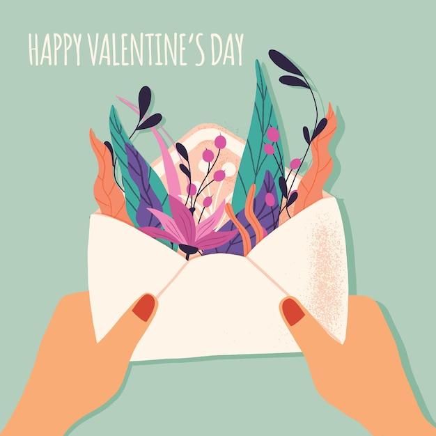 Envelope com carta de amor. mão colorida ilustrações desenhadas com letras de mão para feliz dia dos namorados. cartão com flores e elementos decorativos. Vetor Premium
