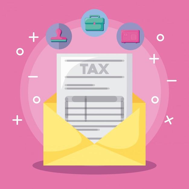 Envelope com economia e financeiro com conjunto de ícones Vetor Premium
