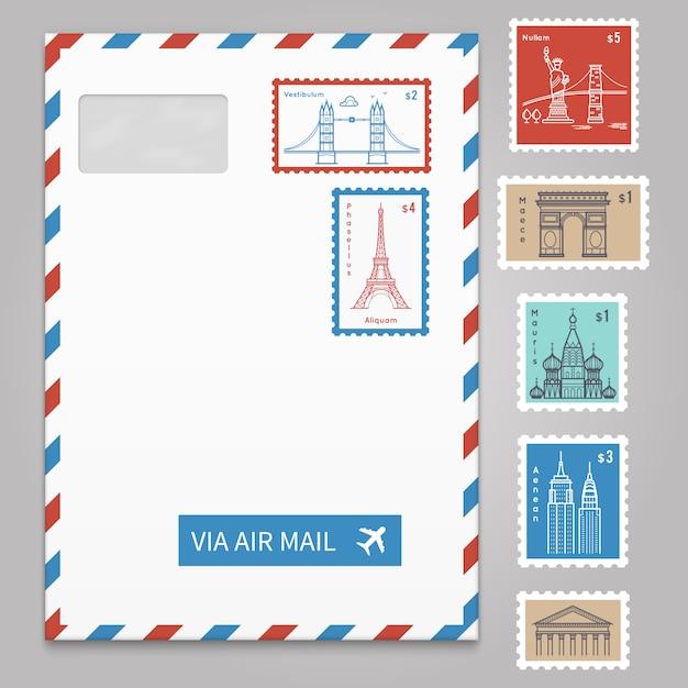Envelope com selos postais com linha viajando cidade Vetor Premium