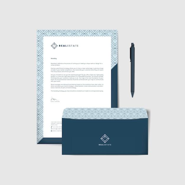 Envelope corporativo e modelos de carta Vetor grátis