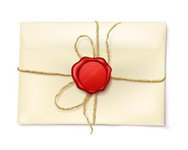 Envelope de papel com selo de cera vermelha Vetor grátis