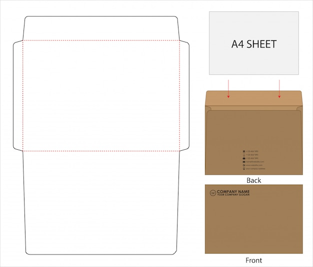 Envelope die cut mock up modelo Vetor Premium