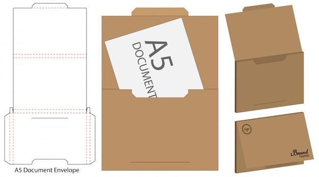 Envelope die cut mock up modelo Vetor Premium