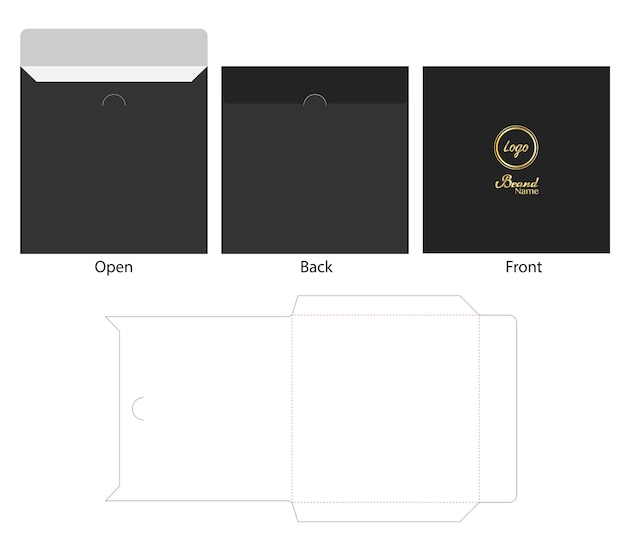 Envelope die cut mock up vetor de modelo Vetor Premium